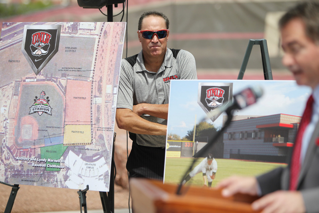 UNLV Head Baseball Coach Tim Chambers participates during an event announcing the Anthony and Lyndy Marnell III Baseball Clubhouse outside of Wilson Stadium at UNLV in Las Vegas Monday, May 11, 20 ...