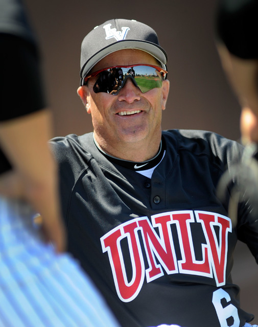 UNLV's baseball head coach, Tim Chambers, chats with his players before the start of a baseball game against San Diego on Saturday, April 7, 2012.  (David Becker/Las Vegas Review-Journal)