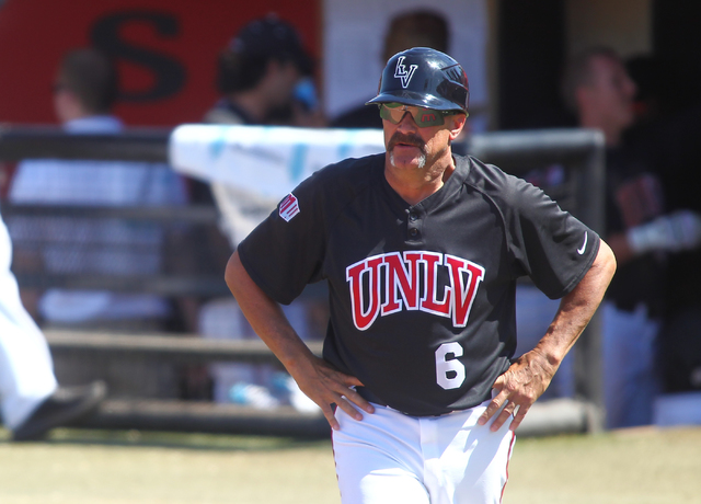 UNLV head coach Tim Chambers is seen as the team plays against San Jose State during a game at Earl E. Wilson Stadium in Las Vegas on Saturday, April 12, 2014. UNLV won 2-1. (Chase Stevens/Las Veg ...