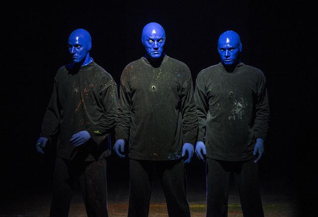 Blue Man Group members Alain Rochefort, left, Mathew Banks and Vinnie Masteguim perform on Tuesday, Jan. 31, 2017, at the Luxor hotel-casino, in Las Vegas. (Benjamin Hager/Las Vegas Review-Journal ...