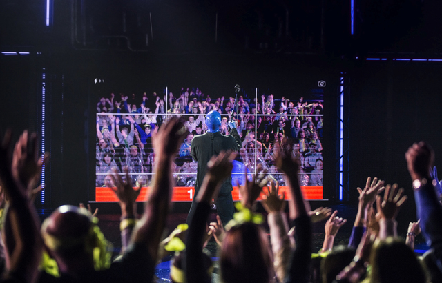 Alain Rochefort, captain of the Blue Man Group Las Vegas, takes a selfie with the crowd on Tuesday, Jan. 31, 2017, at the Luxor hotel-casino, in Las Vegas. (Benjamin Hager/Las Vegas Review-Journal ...