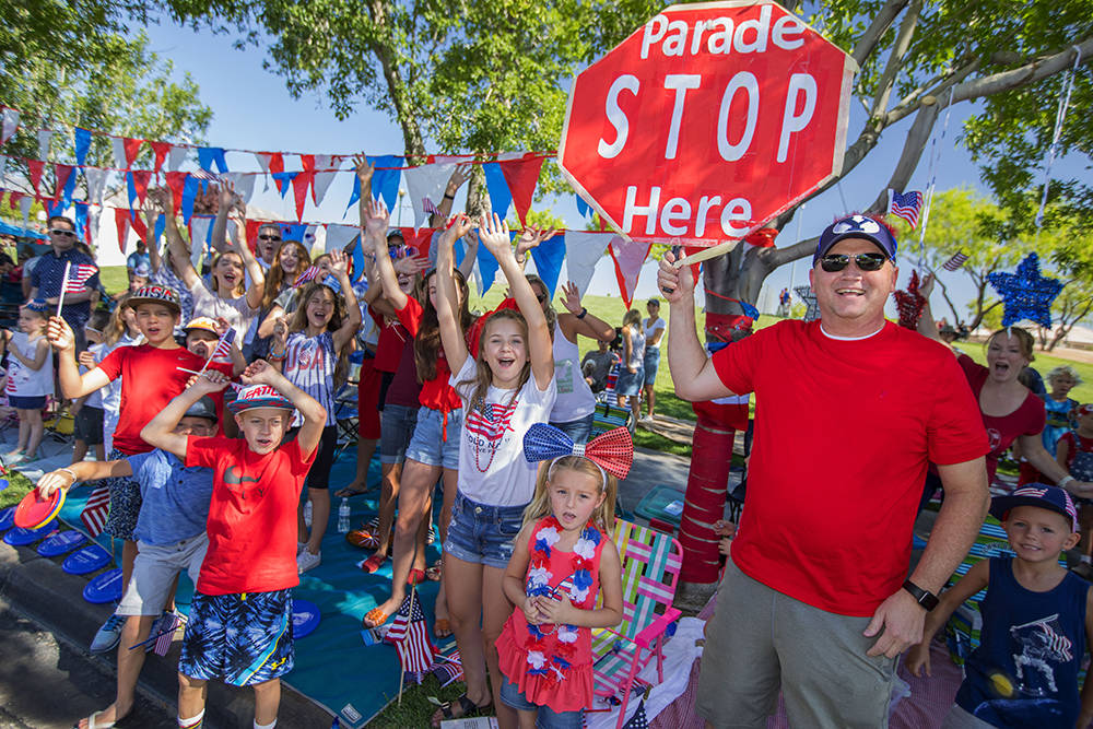 Spectators cheer the floats at the 23rd annual Summerlin Council Patriotic Parade on July 4. (The Summerlin Council)