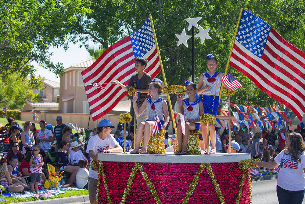 Entries include traditional floats, giant inflatables, marching bands, military groups, performing groups and popular children's characters. (The Summerlin Council)