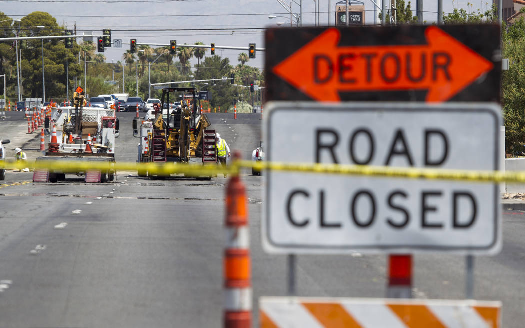 Road closures are in place along South Eastern Avenue between East Rochelle Avenue and East Flamingo Road on Thursday, July 6, 2017, after a gas line was damaged early Thursday morning. (Richard B ...