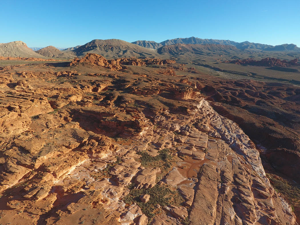 Michael Quine/Las Vegas Review-Journal An aerial view on Tuesday, January 17, 2017 of Little Finland in Gold Butte National Monument, a plateau of red sandstone that has been shaped by the element ...