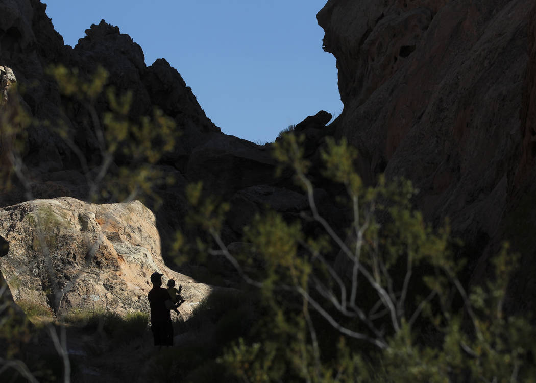 David Richards with his 9-month-old son Phoenix in the Whitney Pockets area of the Gold Butte National Monument south of Bunkerville on Friday, June 2, 2017. Chase Stevens Las Vegas Review-Journal ...