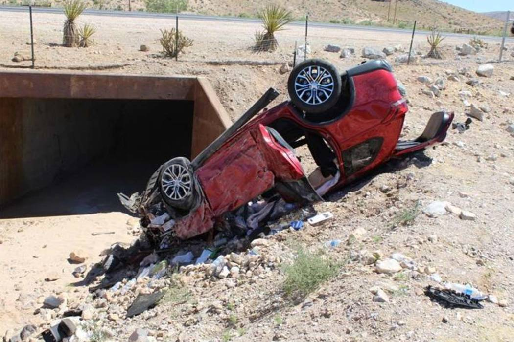 One woman was killed and three other people were injured in a one-vehicle crash on state Route 160 near Red Rock Canyon, west of Las Vegas, on Sunday, June 11, 2017. (Nevada Highway Patrol)
