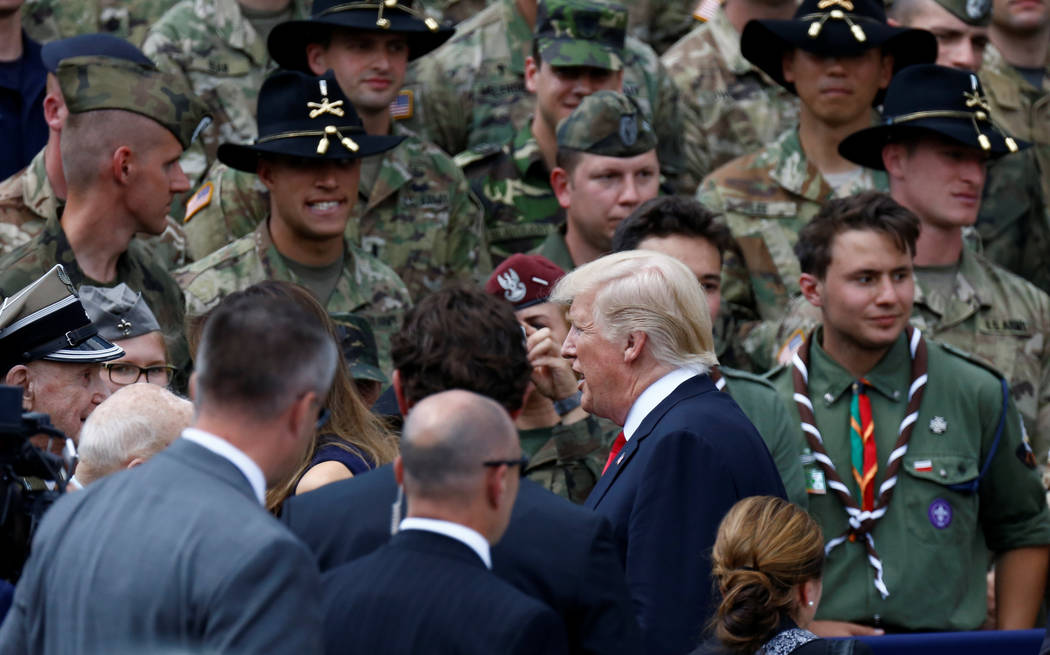 U.S. President Donald Trump leaves after delivering a public speech in front of the Warsaw Uprising Monument at Krasinski Square, in Warsaw, Poland July 6, 2017. REUTERS/Kacper Pempel