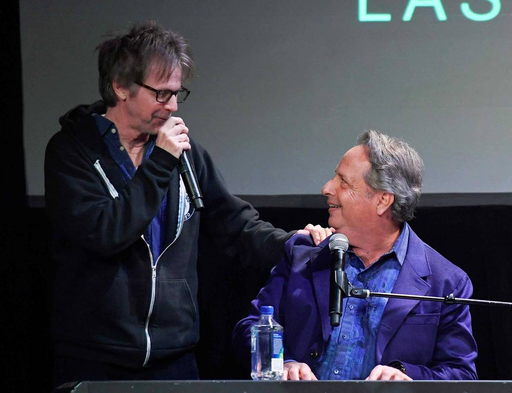 """Comedian/actors Dana Carvey, left, and Jon Lovitz perform as they kick off their 20-show residency """"Reunited"""" at The Foundry at SLS Las Vegas Jan. 6. (Ethan Miller/Getty Images for SLS Las Vegas)"""