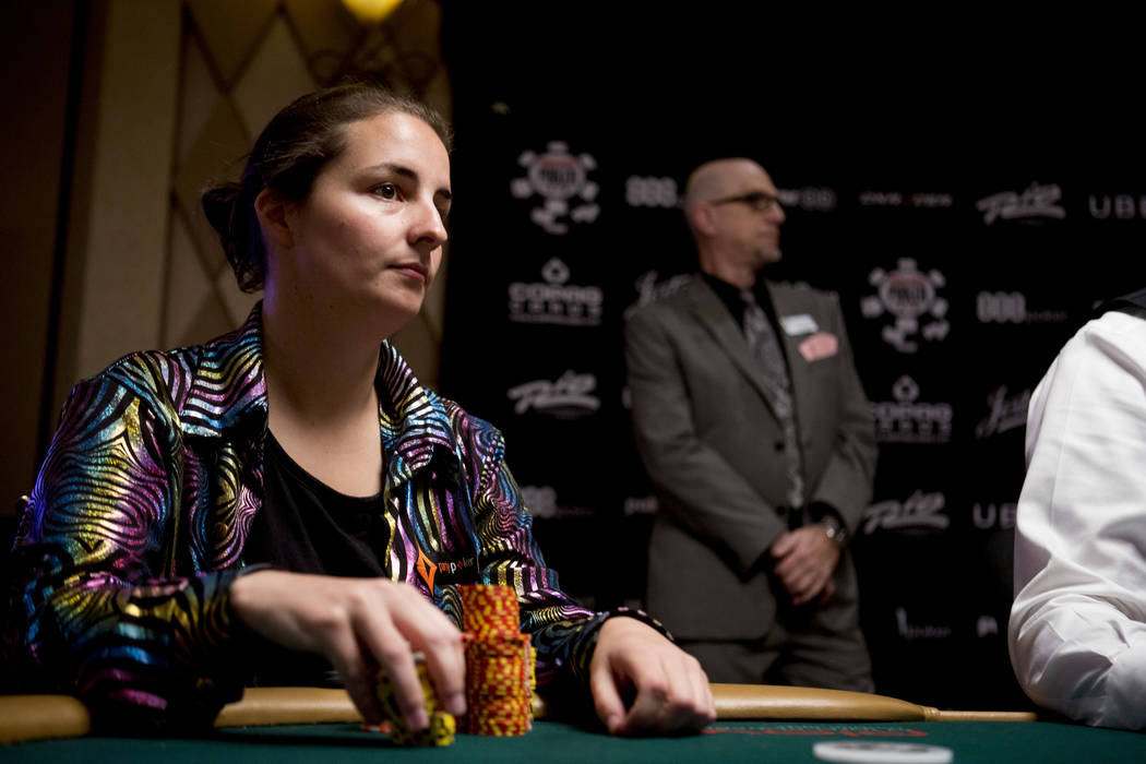 Heidi May from Australia plays in the final table of the Ladies No-Limit Hold 'em Championship at the World Series of Poker at the Rio Convention Center in Las Vegas on Sunday, July 9, 2017. Eliza ...