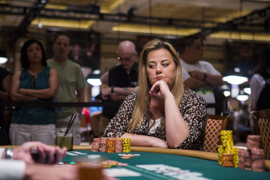 Deborah Worley-Roberts from the United Kingdom plays in the final table of the Ladies No-Limit Hold 'em Championship at the World Series of Poker at the Rio Convention Center in Las Vegas on Sunda ...