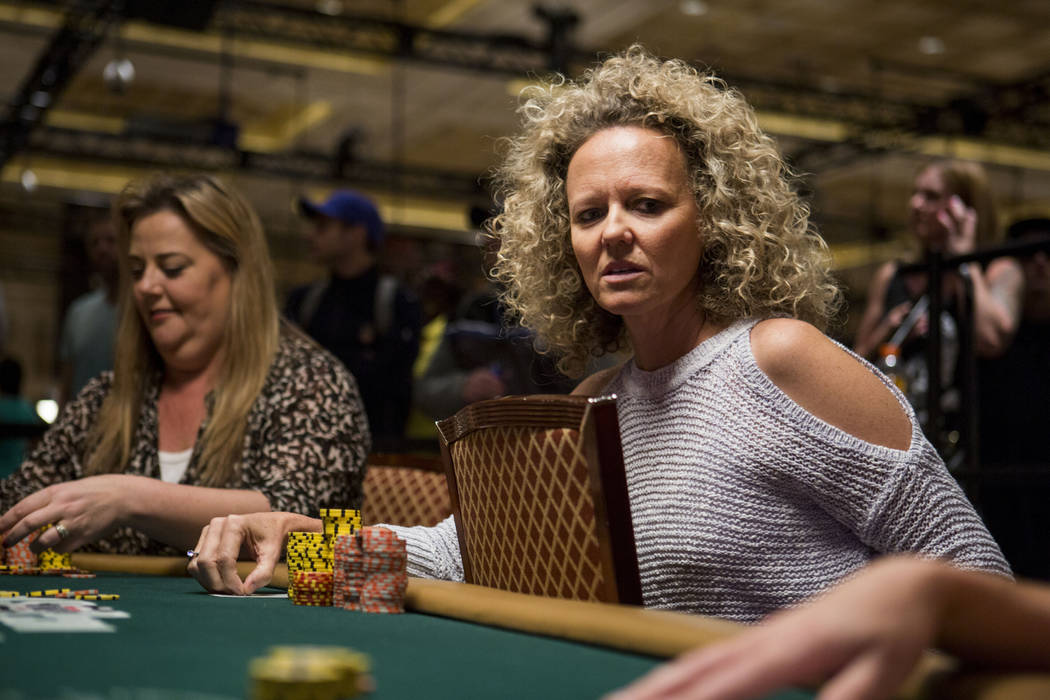 Deborah Worley-Roberts from United Kingdom, left, and Jana de la Cerra from California play in the final table of the Ladies No-Limit Hold 'em Championship at the World Series of Poker at the Rio  ...