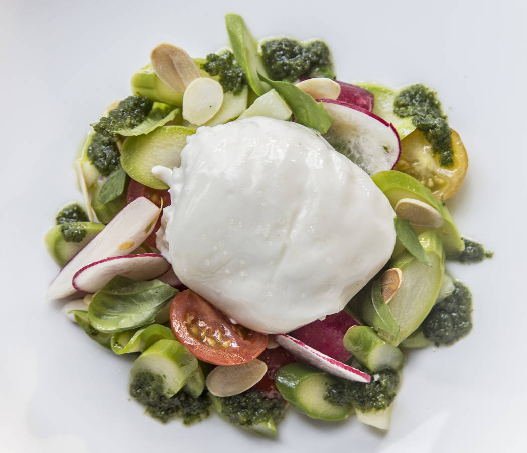 Asparagus and burrata at Hawthorn Grill on Friday, July 7, 2017, at J.W. Marriott, in Las Vegas. Benjamin Hager Las Vegas Review-Journal @benjaminhphoto