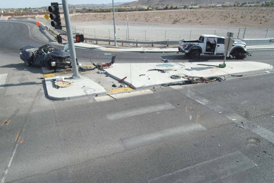 A 22-year-old woman died after a crash at 215 Beltway and Sunset Road offramp in southwest Las Vegas, Wednesday, July 5, 2017. (Nevada Highway Patrol)