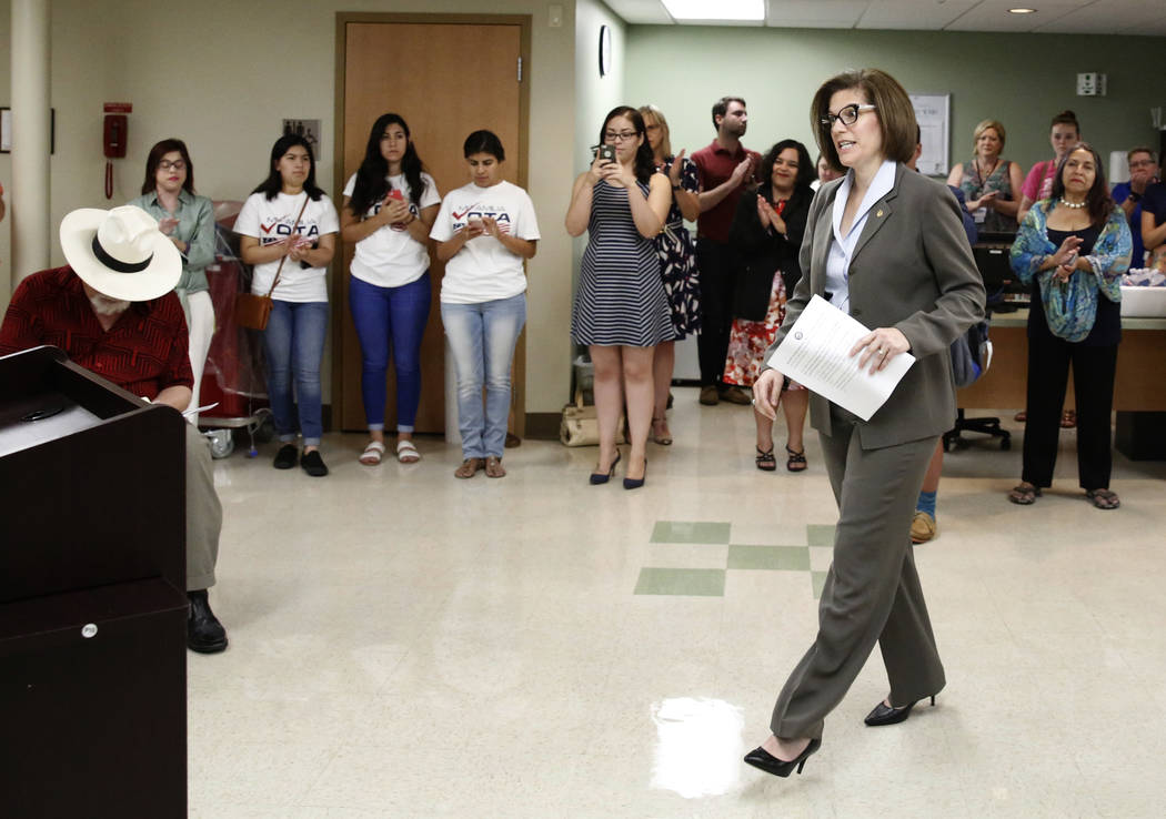 U.S. Sen. Catherine Cortez Masto, D-Nev., walks to the podium to speak at a press conference held at University Medical Center by Nevadans Together for Medicaid, a coalition of healthcare advocacy ...
