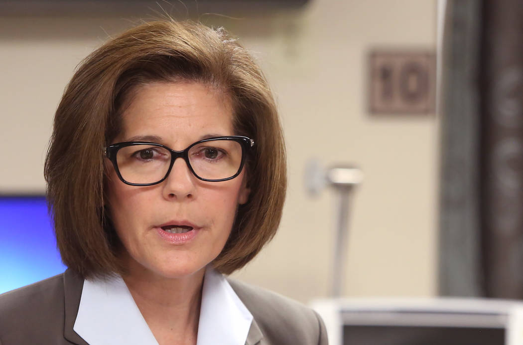 U.S. Sen. Catherine Cortez Masto, D-Nev., speaks during a press conference held at University Medical Center by Nevadans Together for Medicaid, a coalition of healthcare advocacy groups, on Friday ...