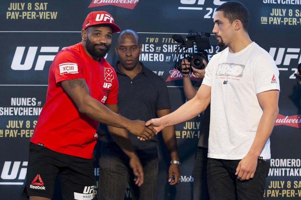 Yoel Romero, left, and Robert Whittaker, during UFC 213 Ultimate Media Day at T-Mobile Arena in Las Vegas on Thursday, July 6, 2017. Erik Verduzco Las Vegas Review-Journal @Erik_Verduzco
