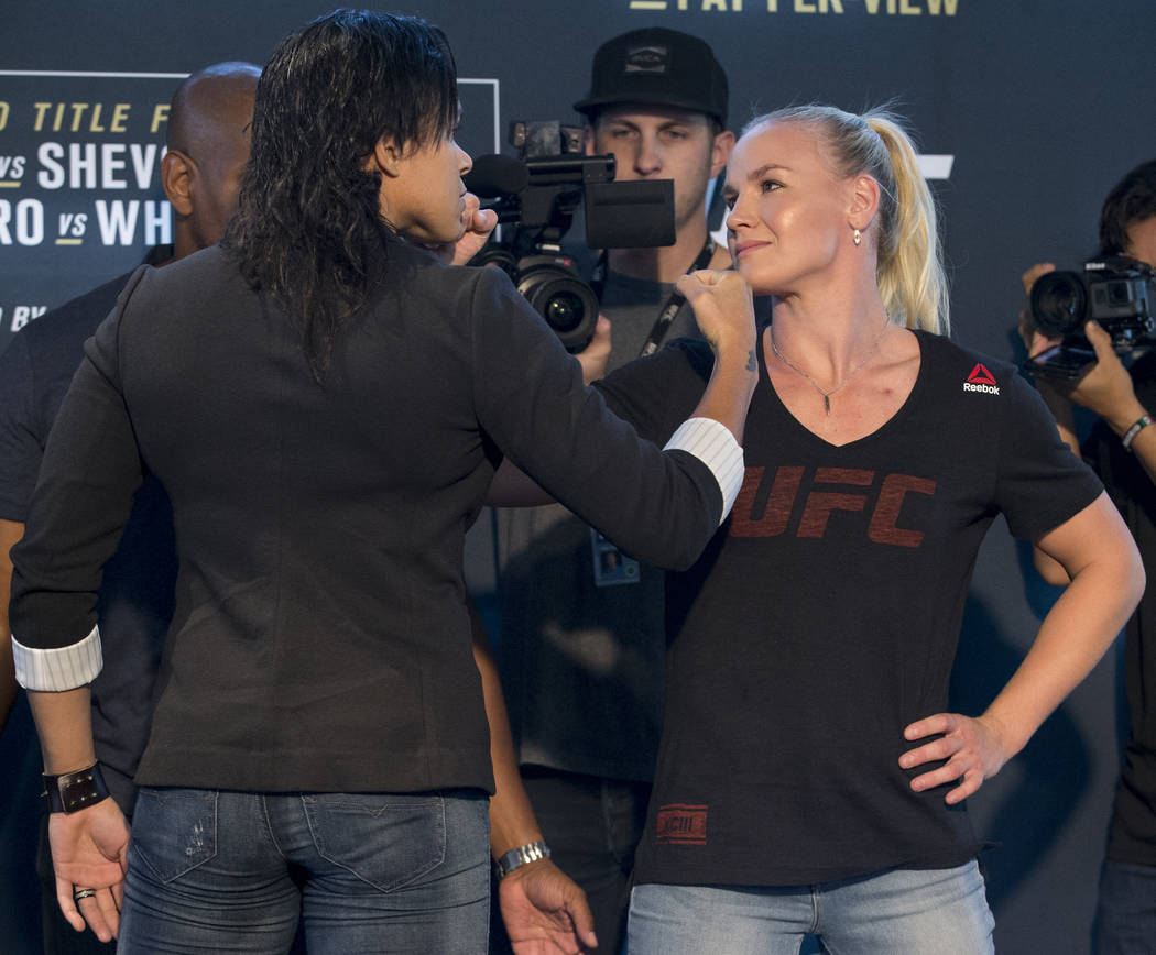 Amanda Nunes, left, and Valentina Shevchenko, during UFC 213 Ultimate Media Day at T-Mobile Arena in Las Vegas on Thursday, July 6, 2017. Erik Verduzco Las Vegas Review-Journal @Erik_Verduzco