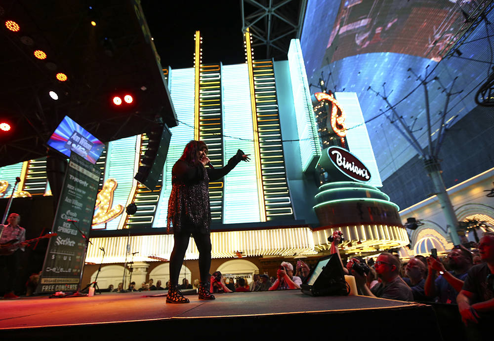 Ann Wilson of Heart performs at the Fremont Street Experience in Las Vegas July 3. (Chase Stevens/Las Vegas News Bureau)