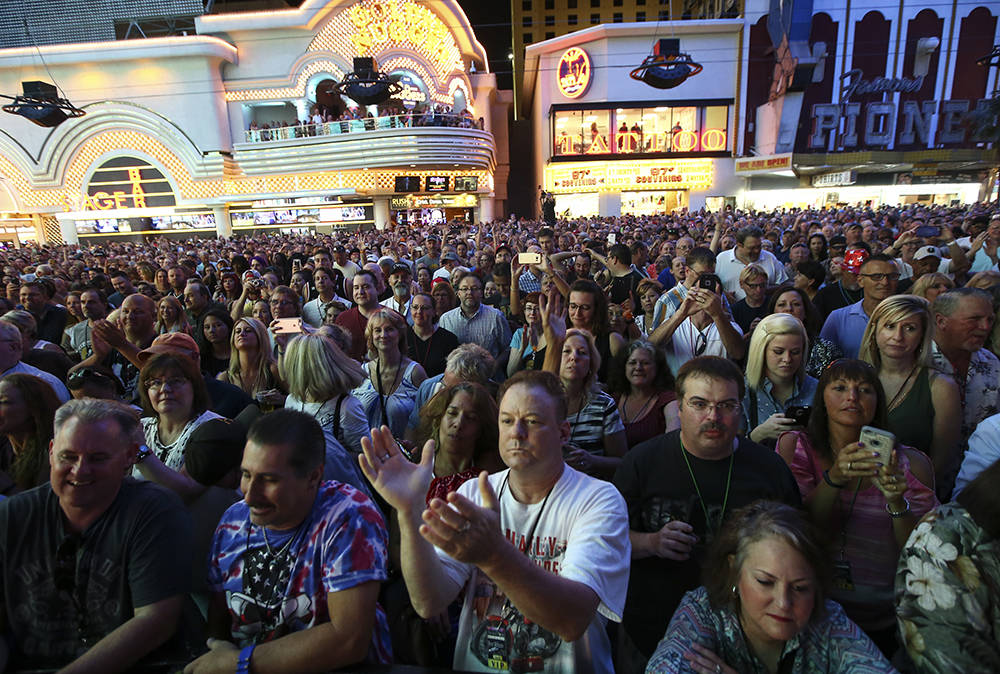 The crowd cheers as Ann Wilson of Heart performs at the Fremont Street Experience July 3. (Chase Stevens/Las Vegas News Bureau)