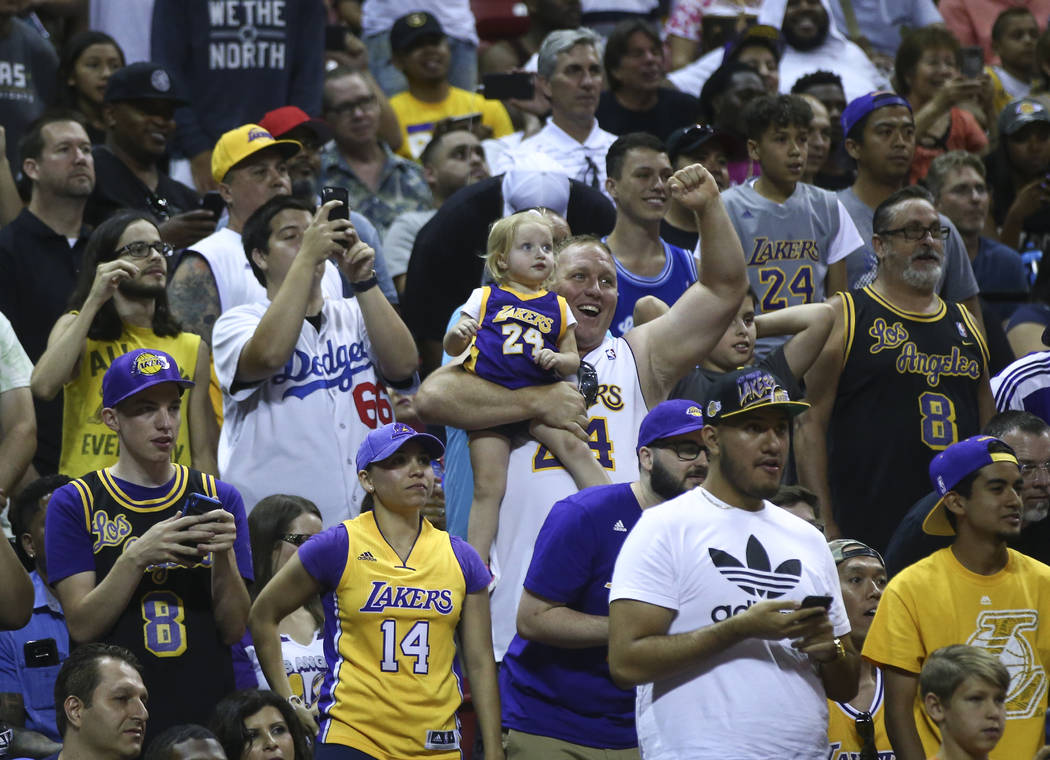 Los Angeles Lakers fans during a basketball game against the Los Angeles Clippers at the NBA Summer League at the Thomas & Mack Center in Las Vegas on Friday, July 7, 2017. Chase Stevens Las V ...