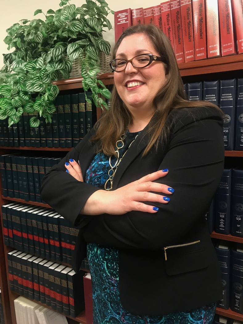 Chief Deputy City Attorney Bethany Rudd Sanchez in library on June 6 at the City of North Las Vegas' city attorney's office. (Kailyn Brown/View) @KailynHype