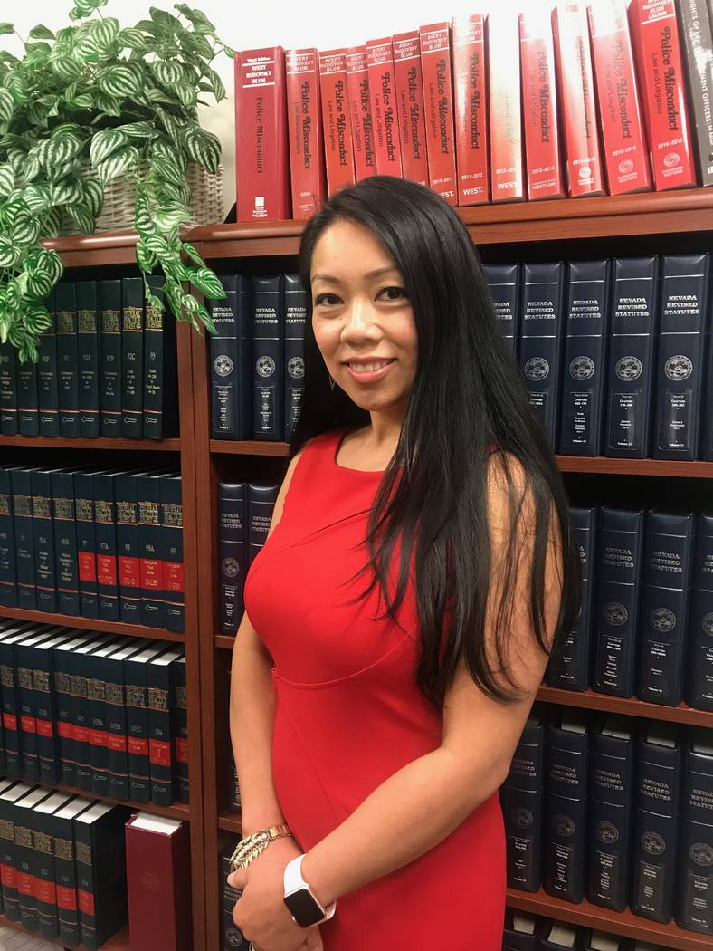 City Attorney Micaela Moore in library on June 6 at the City of North Las Vegas' city attorney's office. (Kailyn Brown/View) @KailynHype