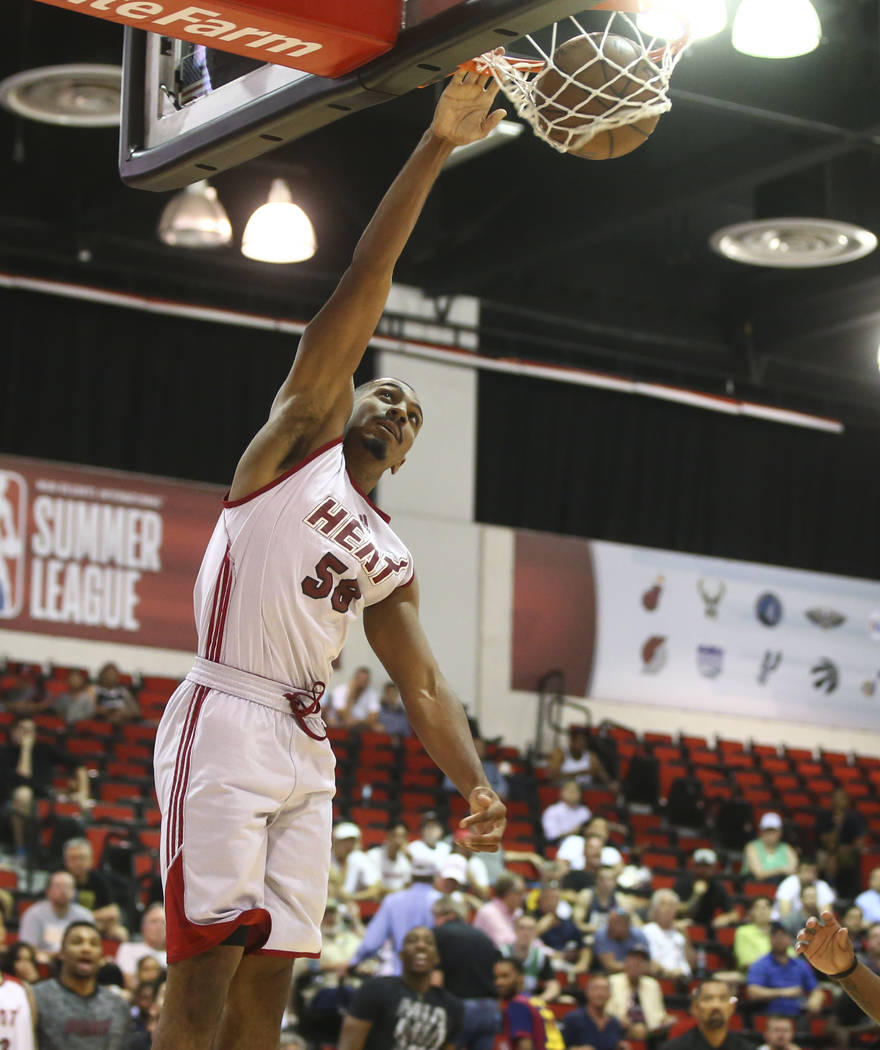 Miami Heat's Lamond Murray Jr. (58) dunks against the Washington Wizards during a basketball game at the NBA Summer League at the Cox Pavilion in Las Vegas on Wednesday, July 12, 2017. Chase Steve ...
