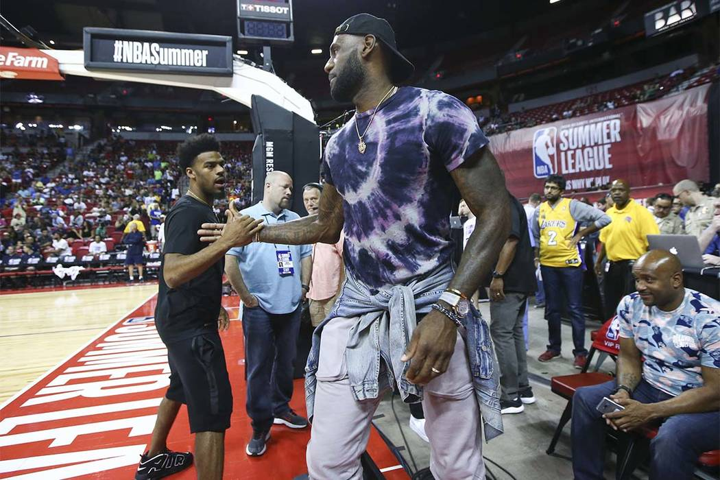 LeBron James was courtside at the Thomas & Mack when the Los Angeles Lakers and Philadelphia 76ers played a Summer League game on Wednesday, July 12, 2017. (Chase Stevens Las Vegas Review-Jour ...