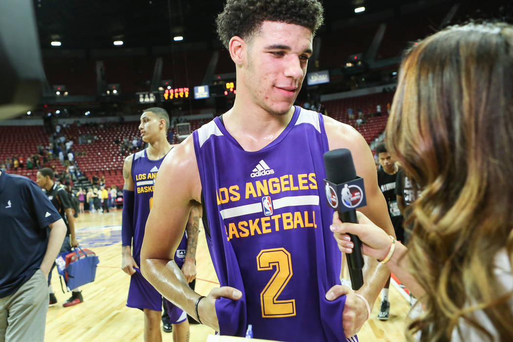 Los Angeles Lakers guard Lonzo Ball speaks with media after his 2017 NBA Summer League game against the Brooklyn Nets at Thomas & Mack in Las Vegas on Saturday, July 15, 2017. Lakers won 115-1 ...