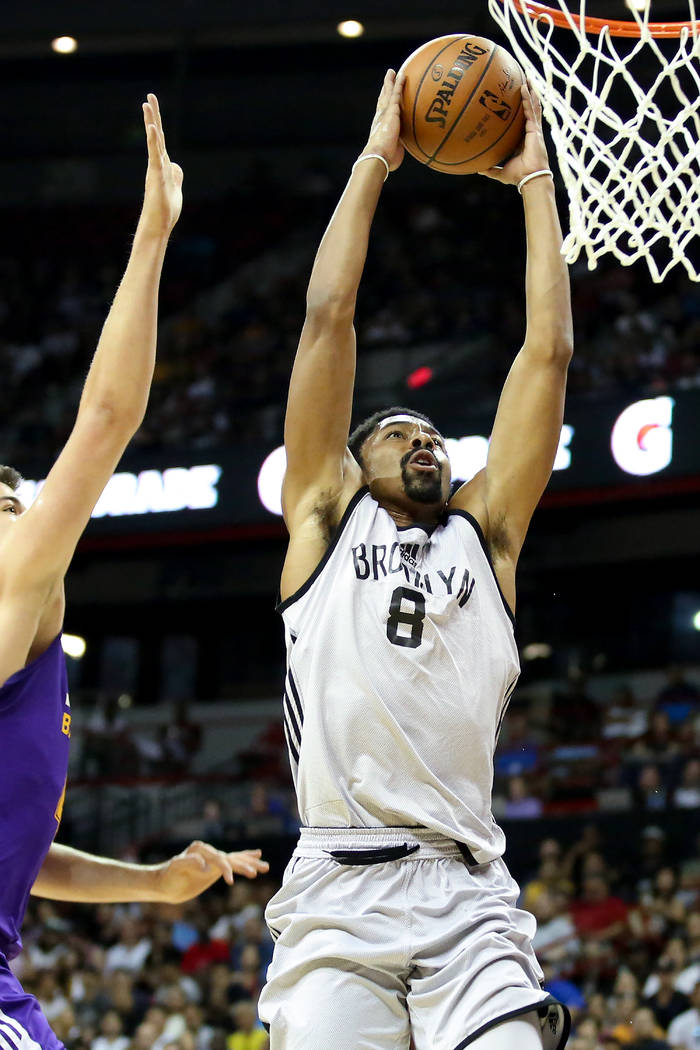 Brooklyn Nets guard Spencer Dinwiddie goes up for a basket during the teams 2017 NBA Summer League game against the Los Angeles Lakers at Thomas & Mack in Las Vegas on Saturday, July 15, 2017. ...