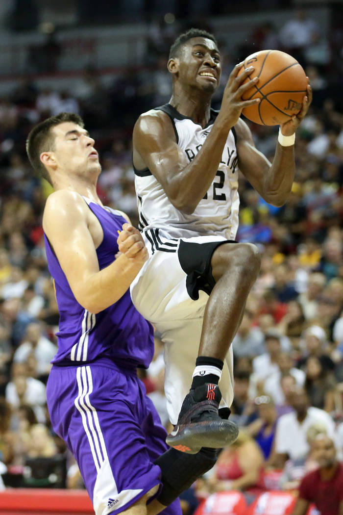 Brooklyn Nets player Chris LeVert goes up for a basket during the teams 2017 NBA Summer League game against the Los Angeles Lakers at Thomas & Mack in Las Vegas on Saturday, July 15, 2017. Lak ...