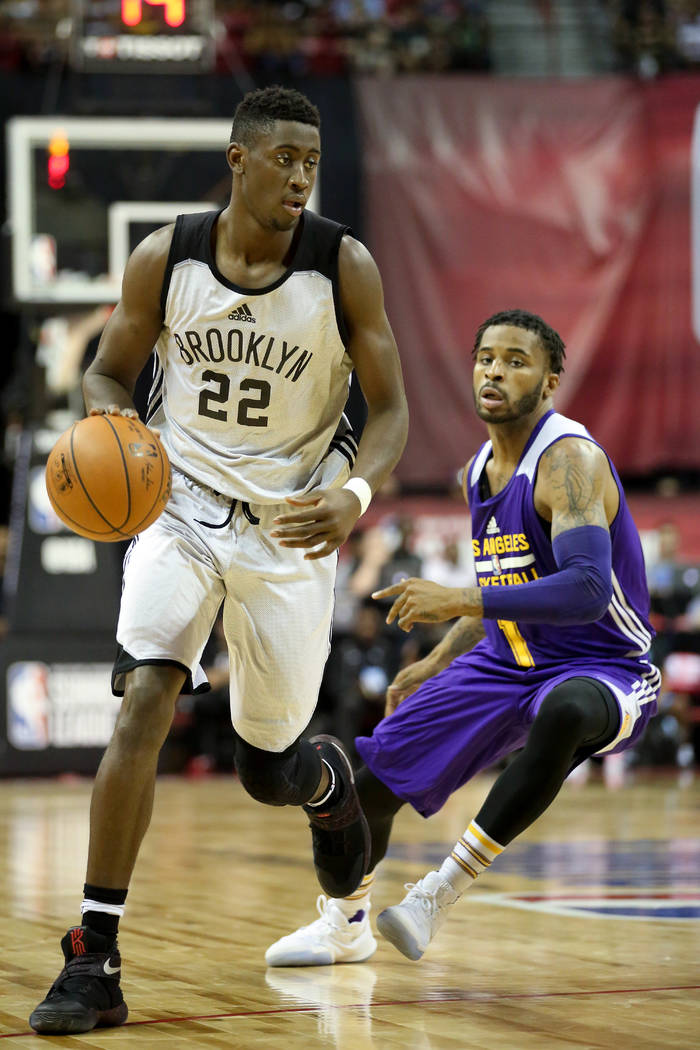 Brooklyn Nets player Chris LeVert handles the ball during the teams 2017 NBA Summer League game against the Los Angeles Lakers at Thomas & Mack in Las Vegas on Saturday, July 15, 2017. Lakers  ...