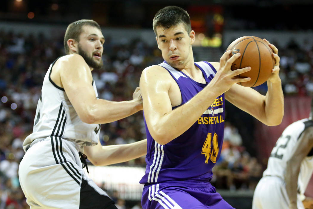 Los Angeles Lakers center Ivica Zubac handles the ball during the teams 2017 NBA Summer League game against the Brooklyn Nets at Thomas & Mack in Las Vegas on Saturday, July 15, 2017. Lakers w ...