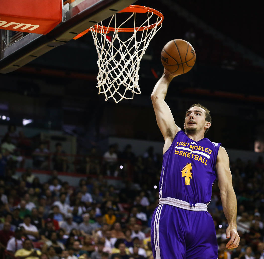 Los Angeles Lakers  guard Alex Caruso goes in for the slam dunk during the NBA Summer League semifinal game at Thomas and Mack Center on Sunday, July 16, 2017, in Las Vegas. Morgan Lieberman Las V ...
