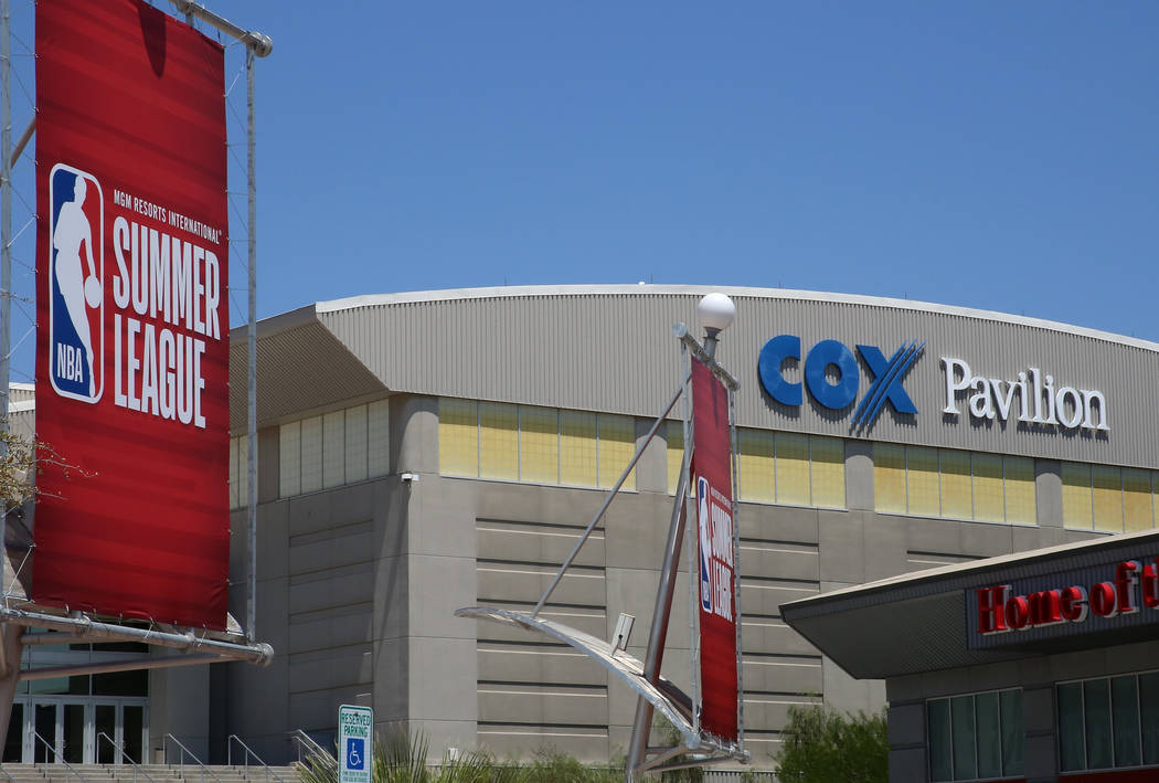 Summer League banners for the 2017 NBA Summer League outside COX Pavillion on Thursday, July 6, 2017. Bizuayehu Tesfaye/Las Vegas Review-Journal @bizutesfaye