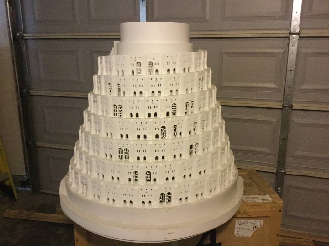 Artist Laurens Tan's Tower of Babalogic Two, modeled after the Tower of Babel described in the Bible. The tower shows the evolution of Mandarin as Western ideas were adopted into Chinese culture.  ...
