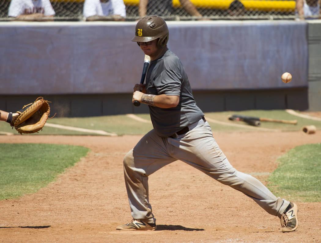 Bengals' Brandon Rivera (22) after getting hit by a wild pitch to advance to first base against the Las Vegas Mustangs in the Connie Mack State Baseball Tournament championship game at the College ...
