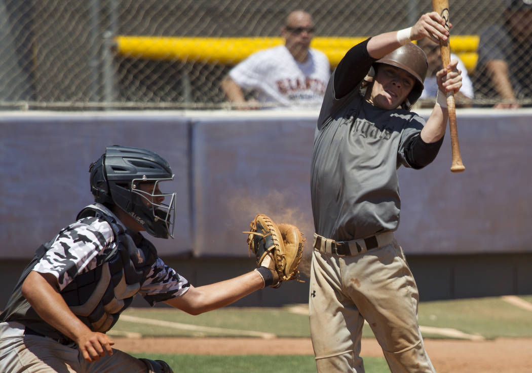 Bengals' Nick DeSoto (10) moves away from a wild pitch against Las Vegas Mustangs in the Connie Mack State Baseball Tournament championship game at the College of Southern Nevada Henderson Campus  ...