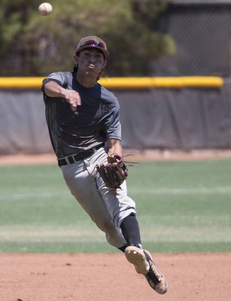 Bengals' Julio Seperich (24) throws the ball to first base for an our against the Las Vegas Mustangs in the Connie Mack State Baseball Tournament championship game at the College of Southern Nevad ...