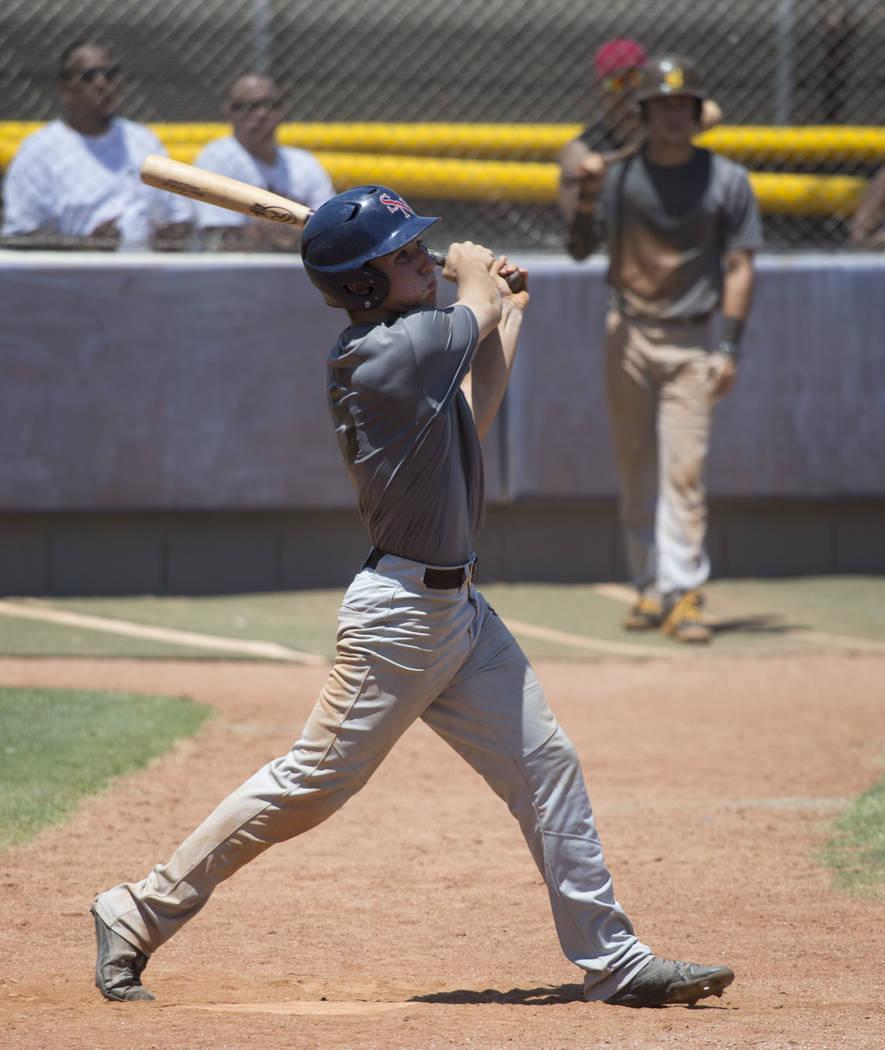 Bengals' Matthew Cox (5) hits the game winning two-run hit against Las Vegas Mustangs in the Connie Mack State Baseball Tournament championship game at the College of Southern Nevada Henderson Cam ...