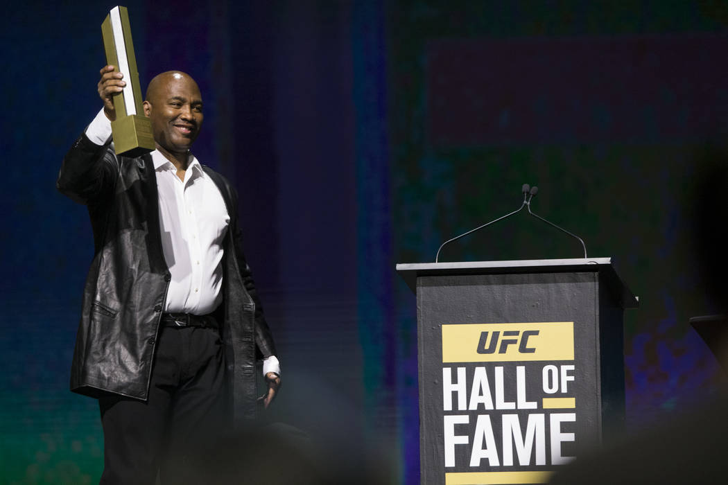 Maurice Smith is inducted to the 2017 UFC Hall Of Fame during a ceremony at the Park Theater inside the Monte Carlo hotel-casino in Las Vegas, Thursday, July 6, 2017. Erik Verduzco Las Vegas Revie ...