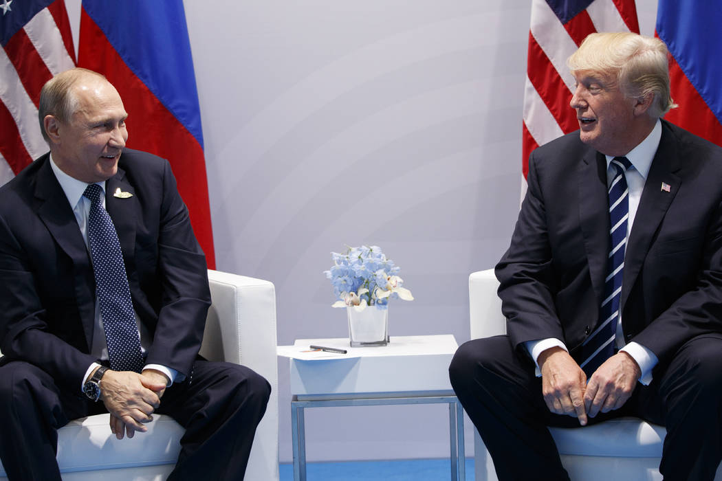 President Donald Trump meets with Russian President Vladimir Putin at the G20 Summit, Friday, July 7, 2017, in Hamburg. (Evan Vucci/AP)