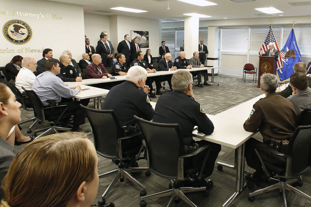 U.S. Attorney General Jeff Sessions, right, speaks to federal, state and local law enforcement officials on Wednesday, July 12, 2017, in Las Vegas. (Bizuayehu Tesfaye/Las Vegas Review-Journal) @bi ...