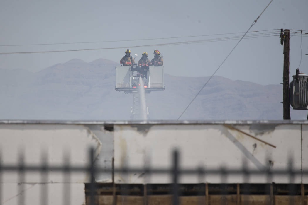 Fire crews work on a fire at the closed Moulin Rouge Hotel property in Las Vegas, Friday, July 7, 2017. Erik Verduzco/Las Vegas Review-Journal