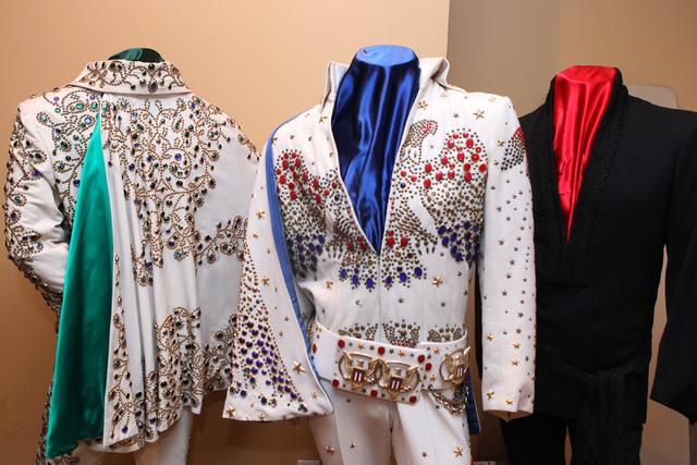 """Elvis Presley outfits that will be part of """"Elvis: The Exhibition"""" is seen at Westgate Las Vegasin Las Vegas Thursday, April 16, 2015. (Erik Verduzco/Las Vegas Review-Journal) Follow Erik Verduzco ..."""