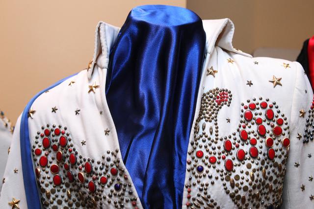 """An Elvis Presley outfit that will be part of """"Elvis: The Exhibition"""" is seen at Westgate Las Vegasin Las Vegas Thursday, April 16, 2015. (Erik Verduzco/Las Vegas Review-Journal) Follow Erik Verduz ..."""