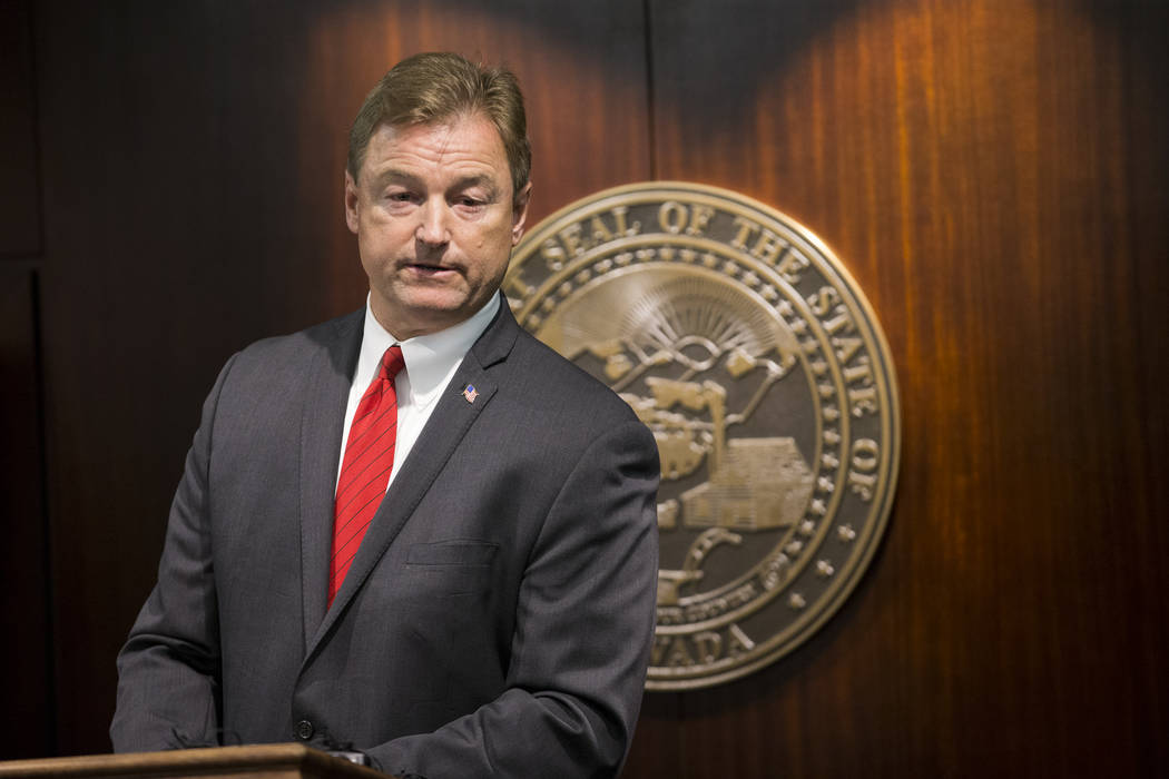 In this June 23, 2017 file photo, Sen. Dean Heller, R-Nev., during a press conference where he announced he will vote no on the proposed GOP healthcare bill at the Sawyer Building. Erik Verduzco/L ...