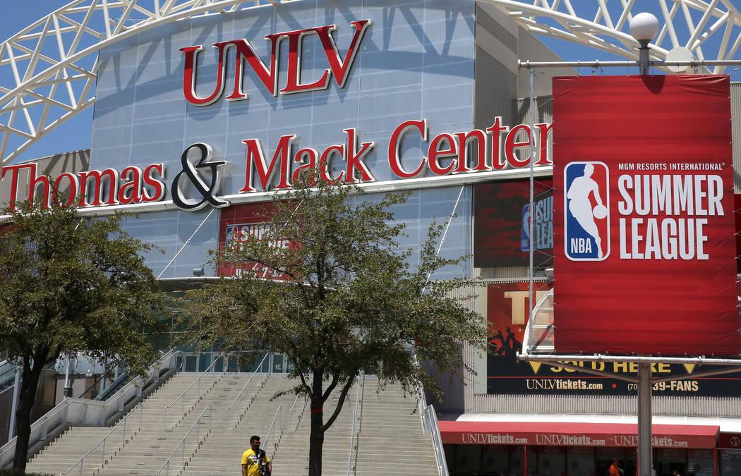 Summer League banner for the 2017 NBA Summer League outside the Thomas & Mack Center on Thursday, July 6, 2017. Bizuayehu Tesfaye/Las Vegas Review-Journal @bizutesfaye
