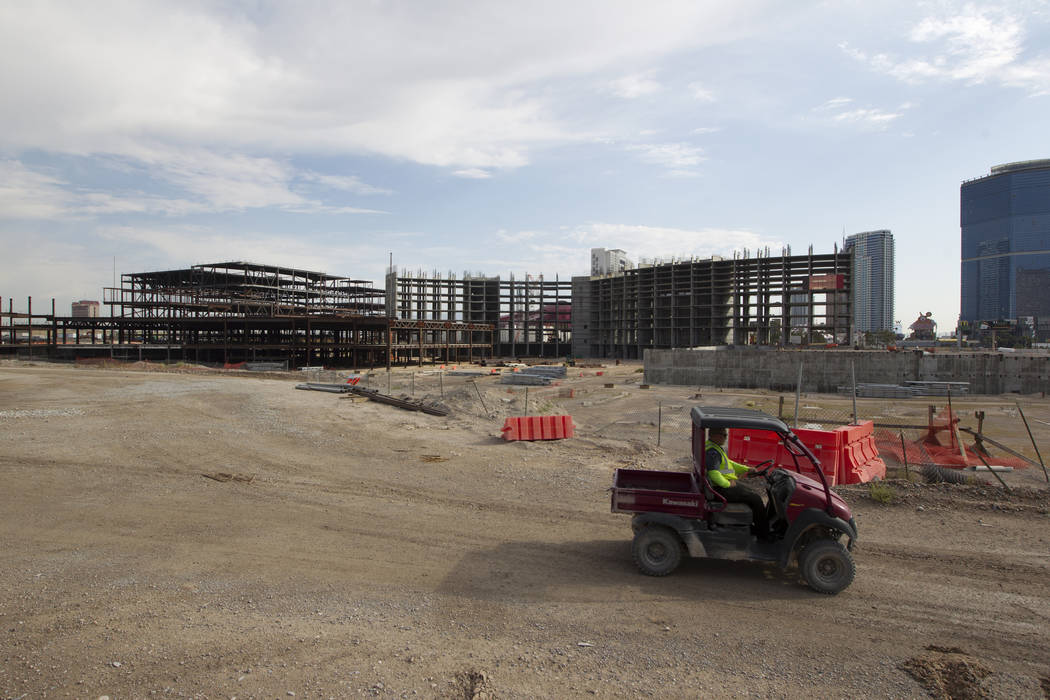 Construction activity Friday, July 7, 2017, at the site of Resorts World Las Vegas on the north Strip megaresort where the Stardust was once located. Richard Brian Las Vegas Review-Journal @vegasp ...